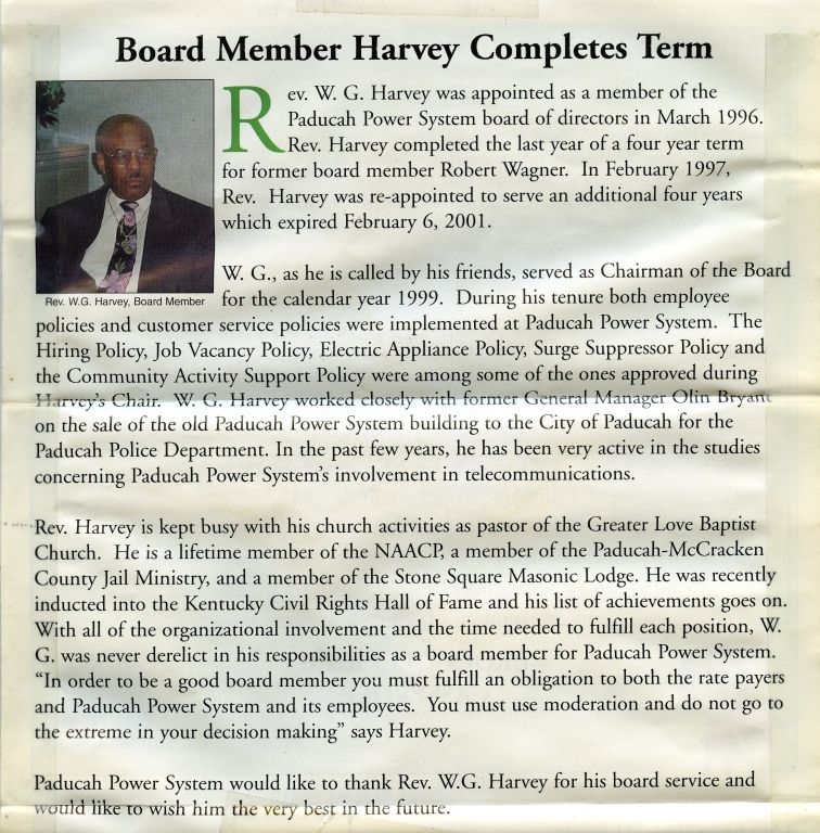 W.G. Harvey retires from Paducah Power System Board