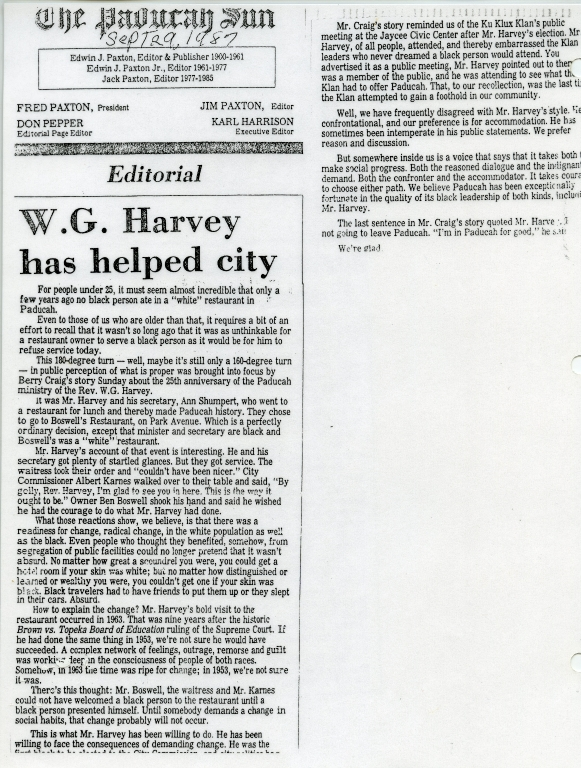 Editorial on How W.G. Harvey Helped Paducah