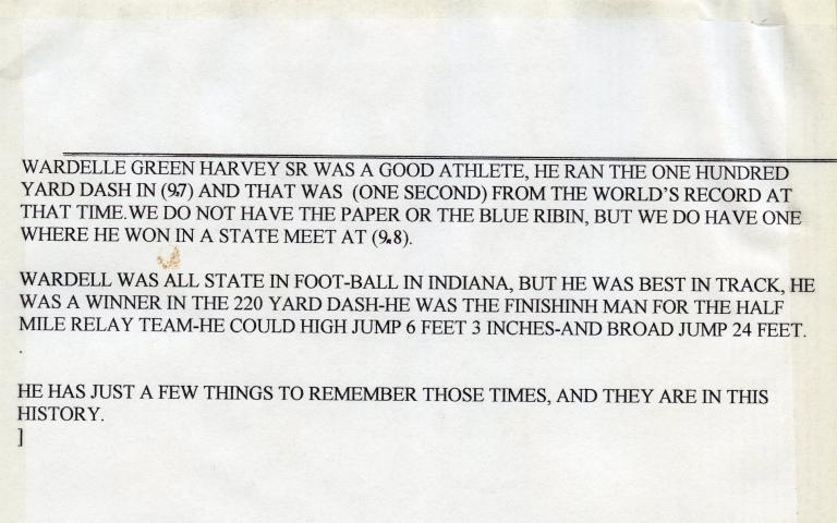 W.G. Harvey's Athletic Achievements