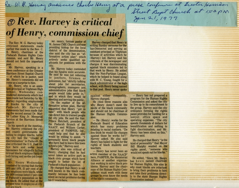 W.G. Harvey Criticizes Paducah Human Rights Commission Chairman