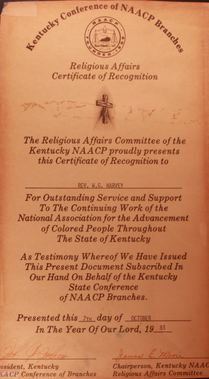 Kentucky NAACP Religious Affairs Certificate of Recognition