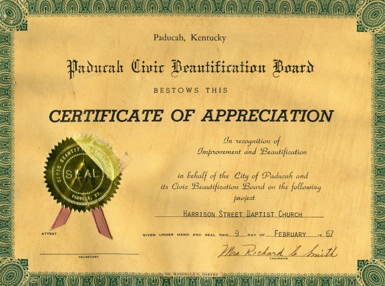 Civic Beautification Board Certificate to Harrison Street Baptist Church