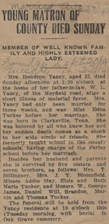 Edna Tucker Yancy obituary