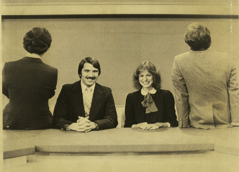 Sports director Frank Morock, news anchors Ron Beaton and Vicki Dortch and meteorologisat Paul Bouchereau