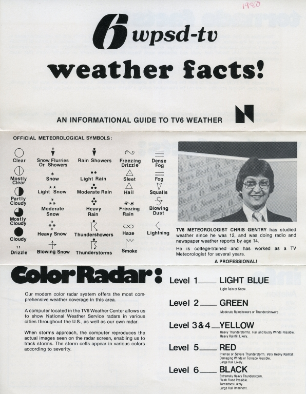 Promotional flyer featuring meteorologist Chris Gentry
