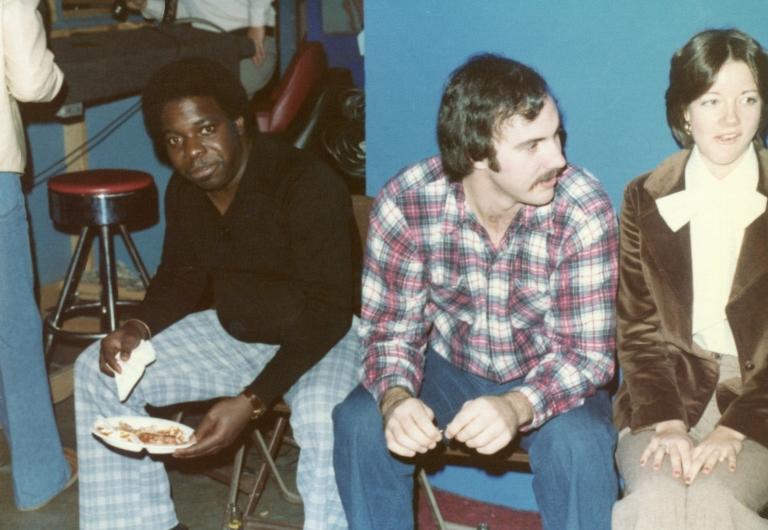 Photographer Bob Crosno and news secretary Donna Fesmire at station Christmas luncheon