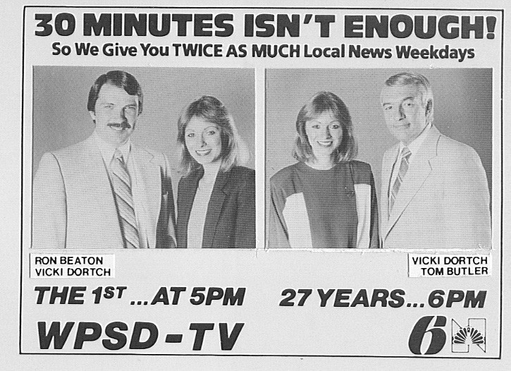 News promo featuring reporter/anchor Ron Beaton, reporter/anchor Vicki Dortch and anchor Tom Butler