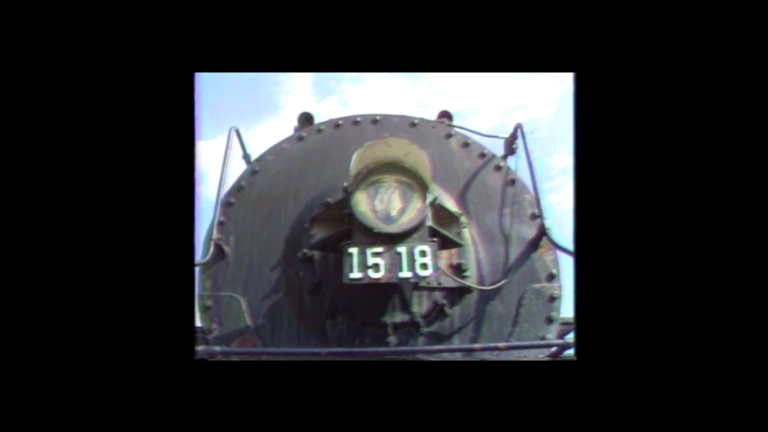 Painting of Engine 1518 and railroad cars
