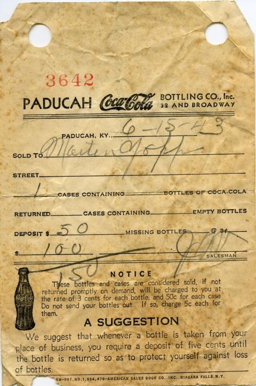 Coca Cola Company Receipt