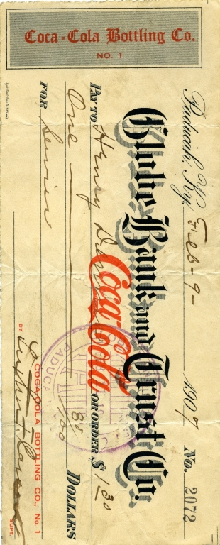 Check Issued by Paducah Coca Cola Company