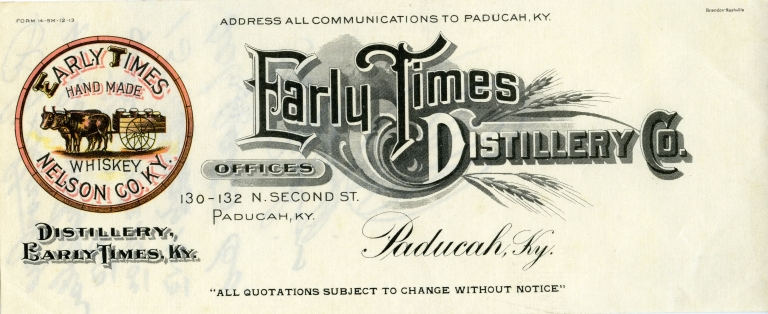 Early Times Distillery Letterhead