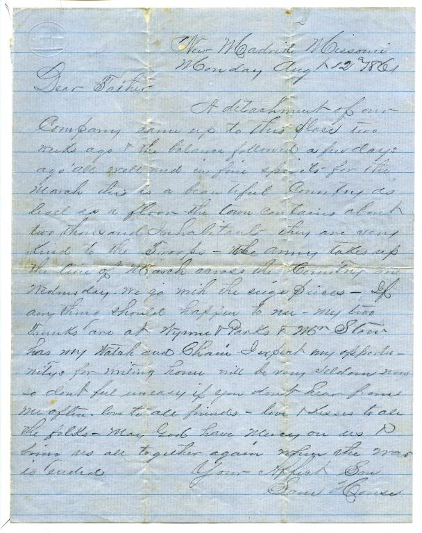 Sam House Letter, August 12, 1861