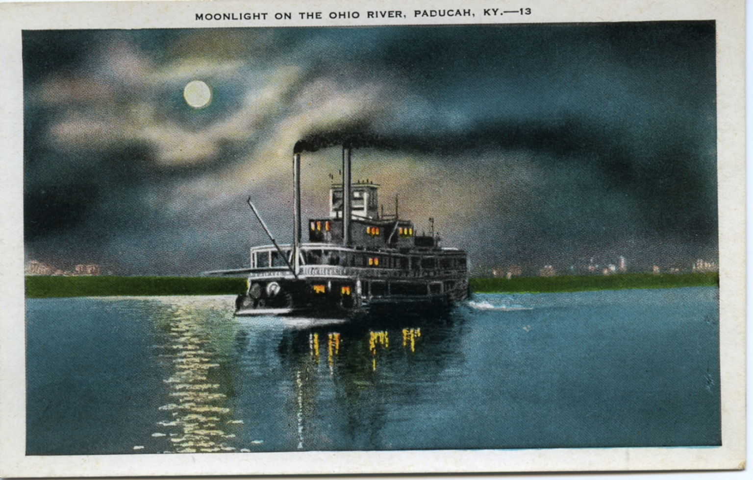 """Moonlight on the Ohio River, Paducah, KY"""