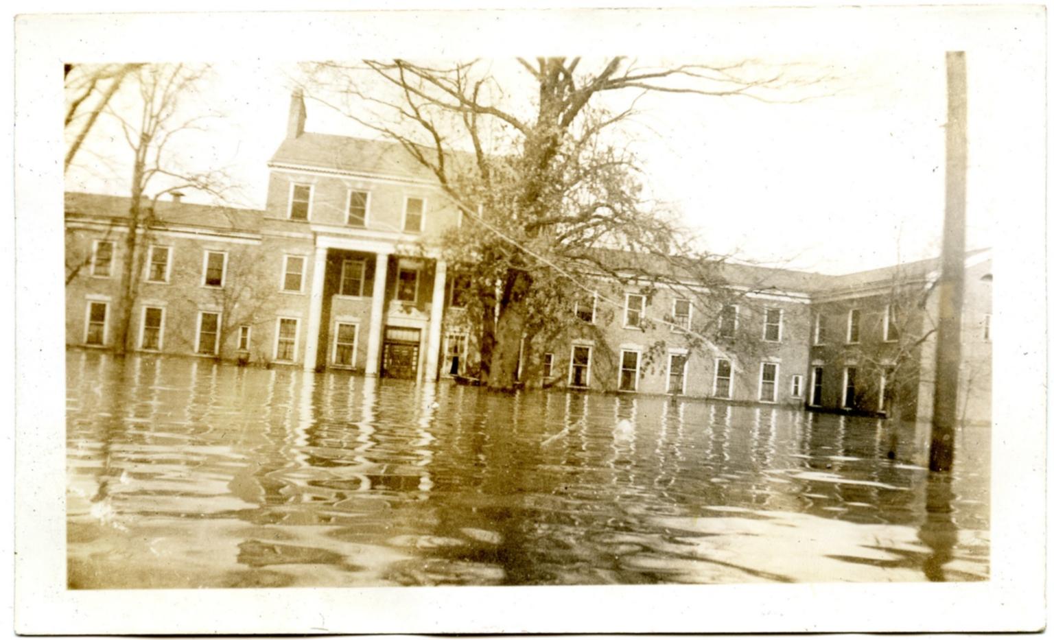 Illinois Central Railroad Hospital during '37 flood.