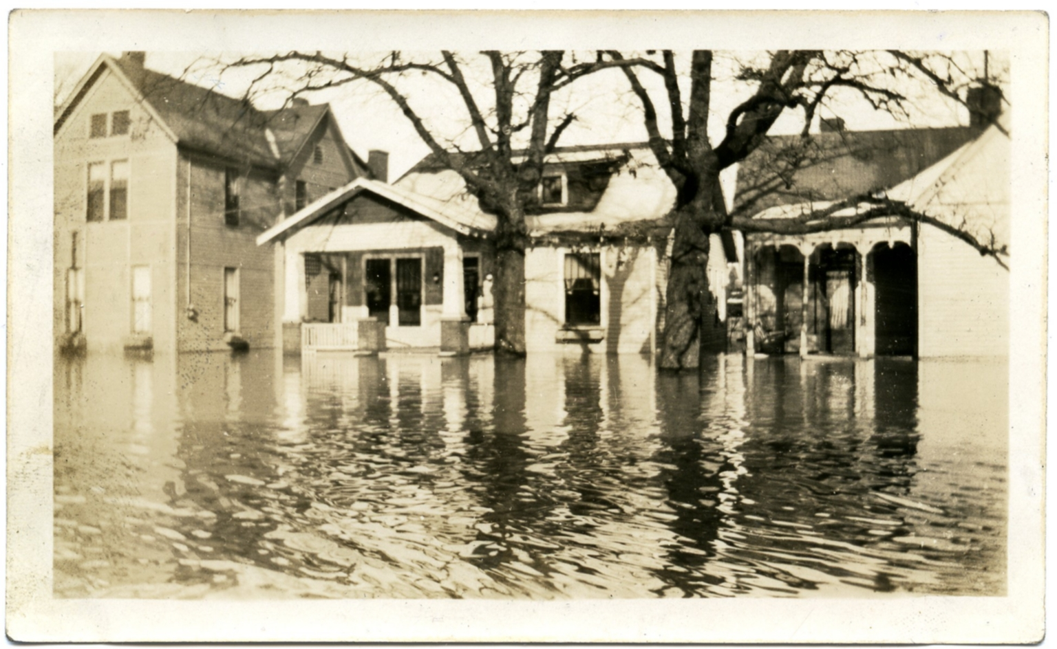 Scene of flooded street during '37 flood.