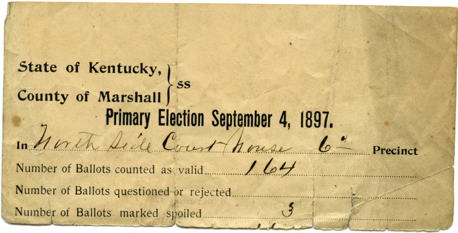 1897 Voting Tally Sheet