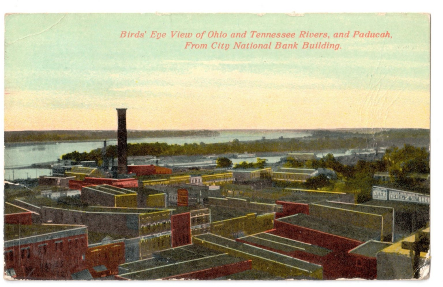 Bird's Eye View of Ohio and Tennesee Rivers, and Paducah. From City National Bank Building