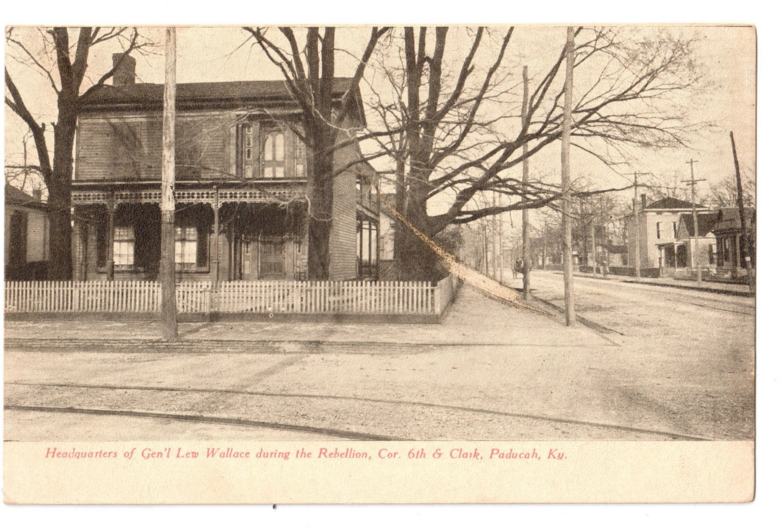 Headquarters of Gen'l Lew Wallace during the Rebellion, Cor 6th & Clark, Paducah, Ky.
