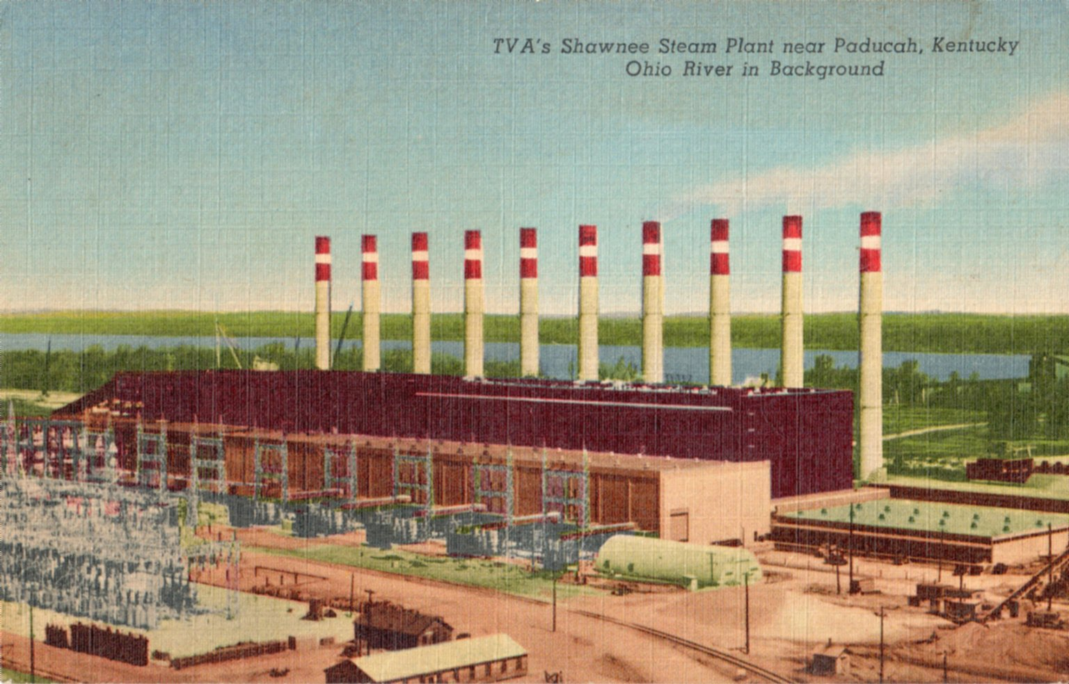 TVA's Shawnee Steam Plant near Paducah, Kentucky Ohio River in Background