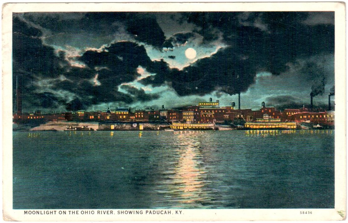 MOONLIGHT ON THE OHIO RIVER, SHOWING PADUCAH, KY.