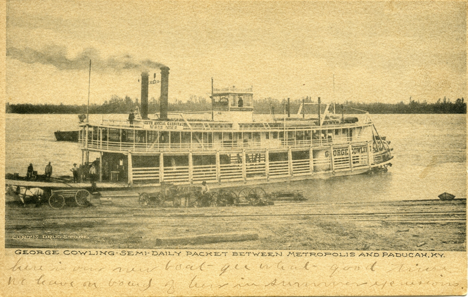 George Cowling packet boat on Ohio River at Paducah (KY)