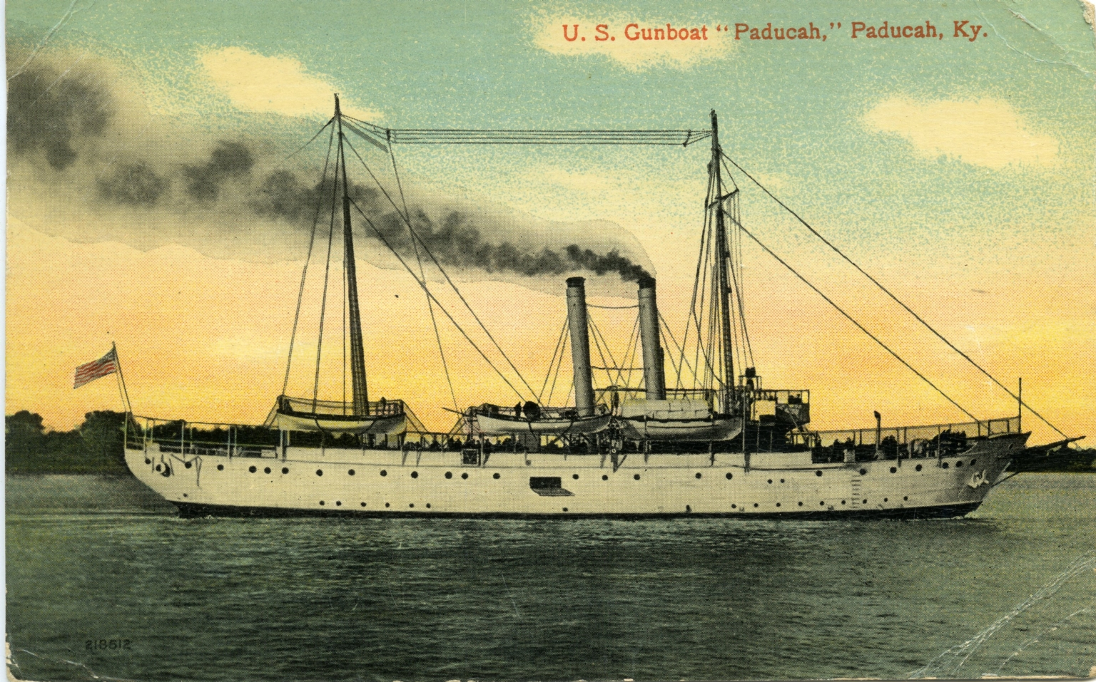 """U.S. Gunboat """"Paducah"""" on Ohio River at Paducah (KY)"""