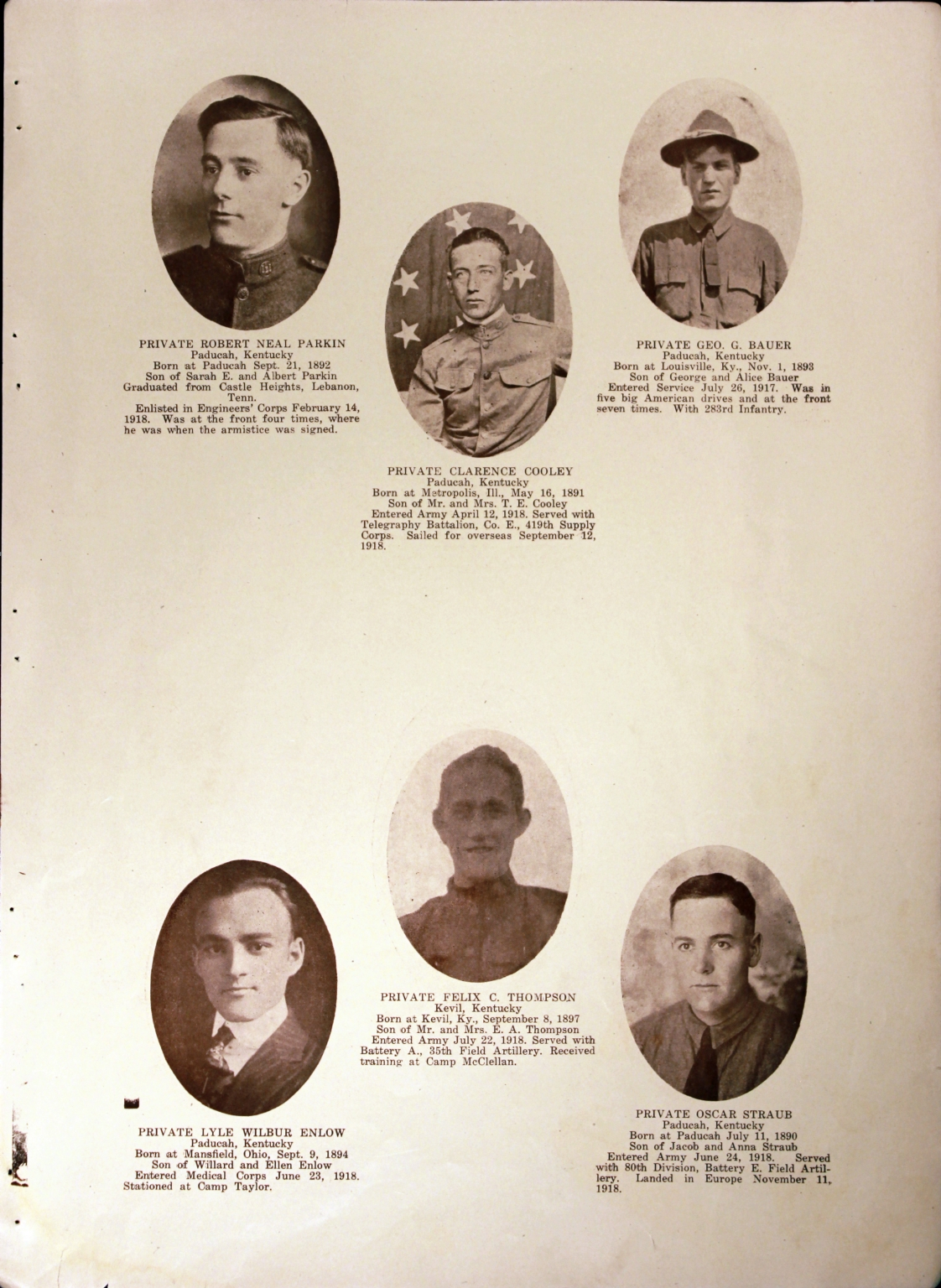 WWI Honor Roll Page 212