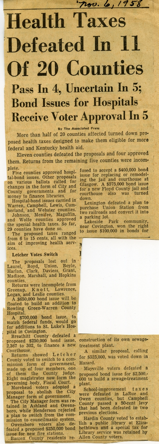 Health Taxes Vote Newspaper Clipping