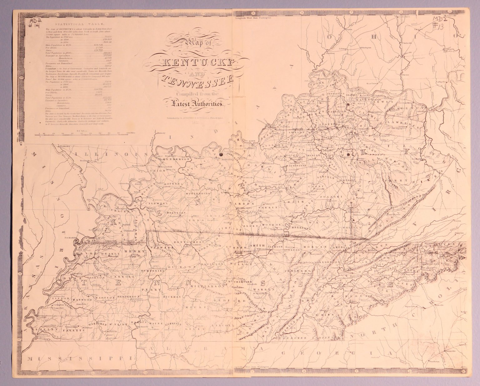 Map of Kentucky and Tennessee compiled from the Latest Authorities