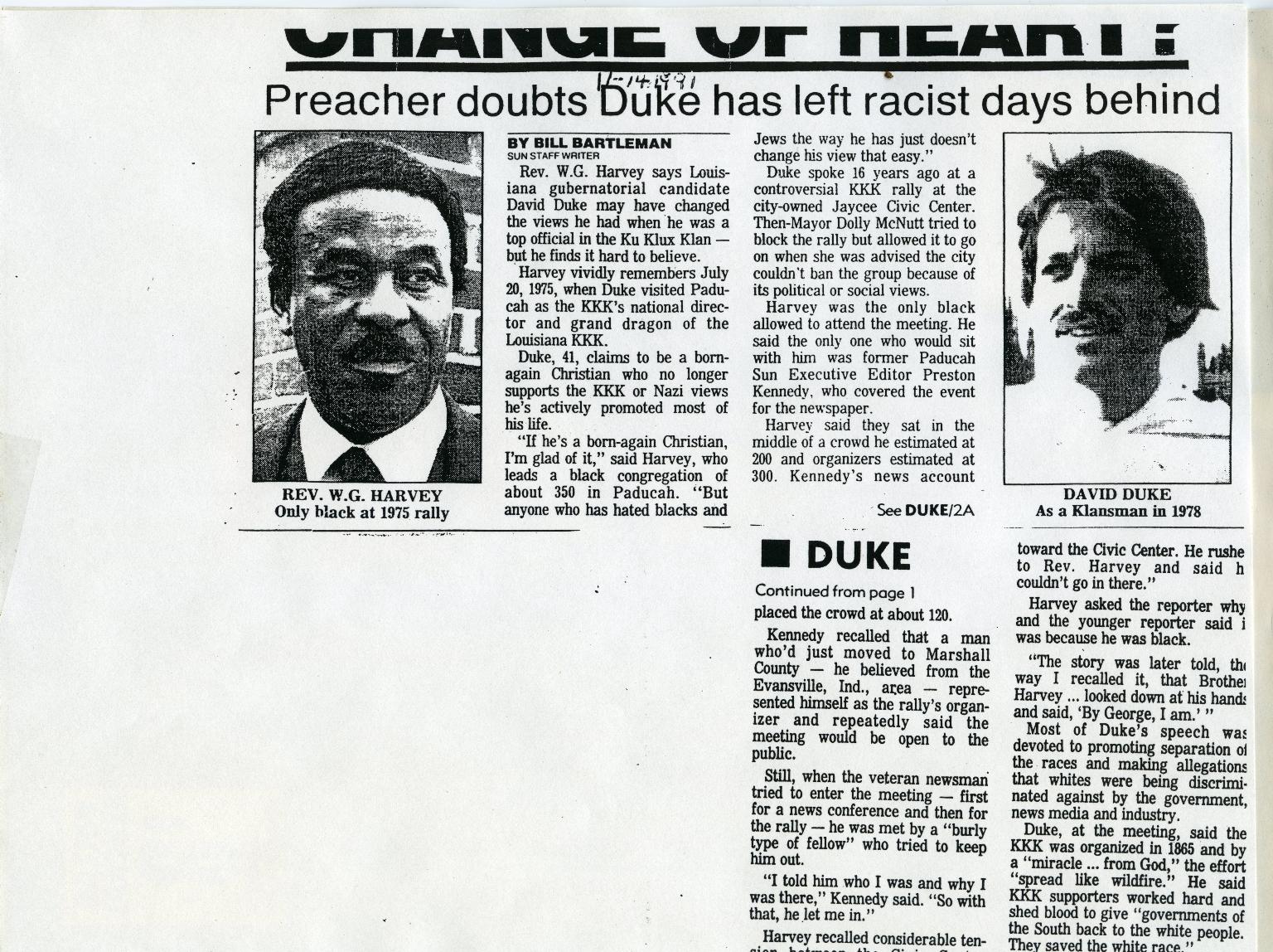 W.G. Harvey on KKK Leader David Dukes