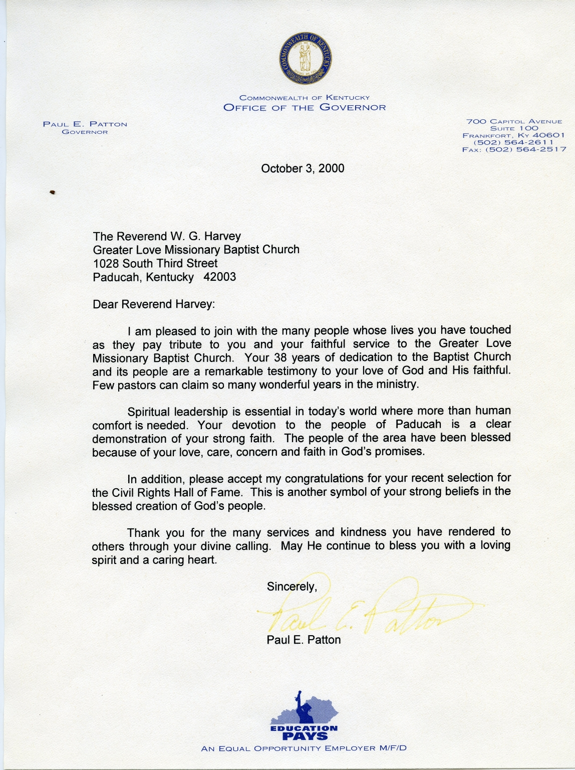 KY Governor Paul Patton Congratulatory Letter to W.G. Harvey