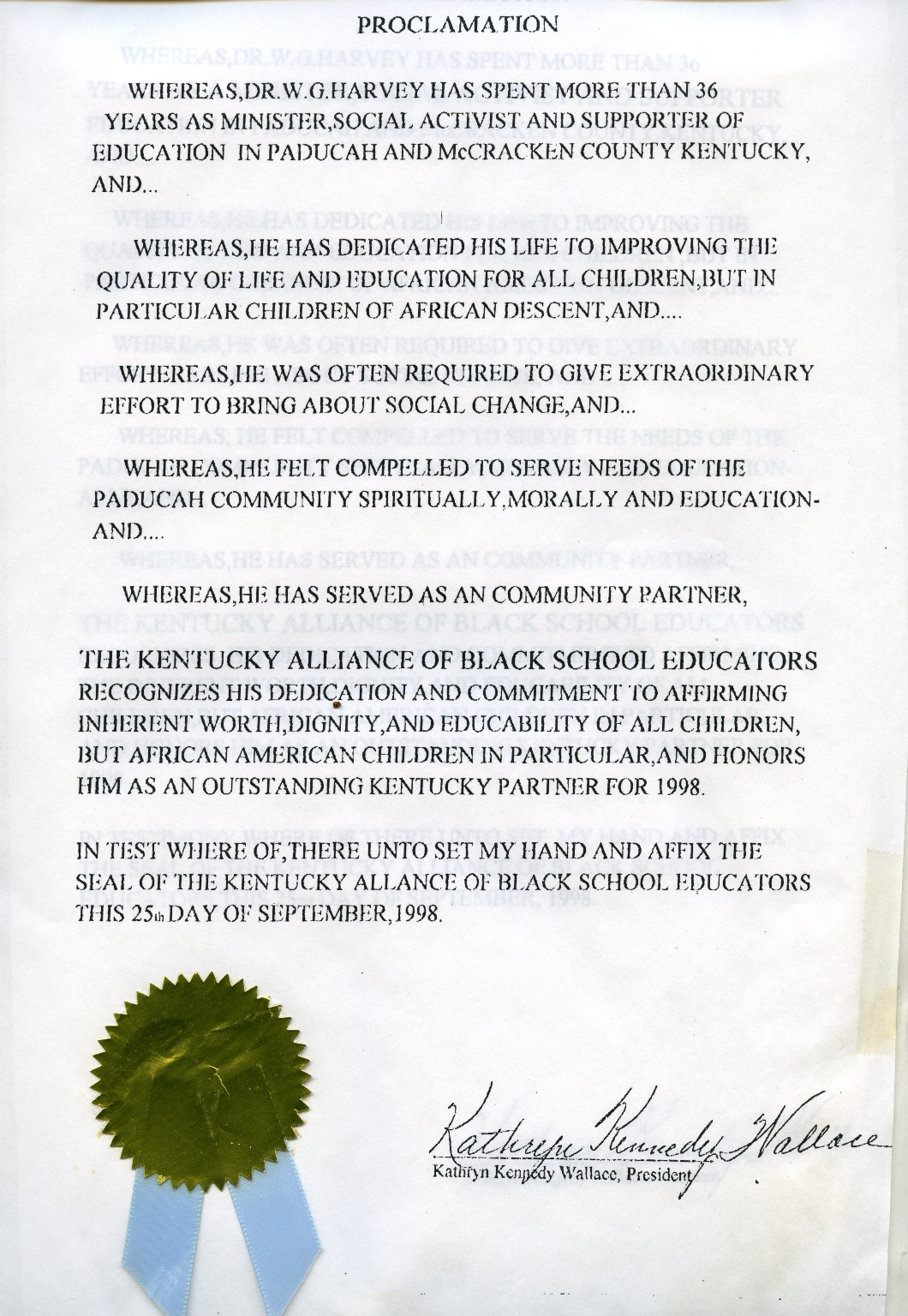 Kentucky Alliance of Black School Educators Proclamation