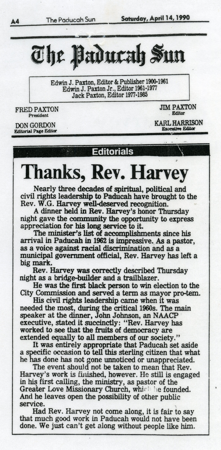 Editorial Thanking W.G.Harvey