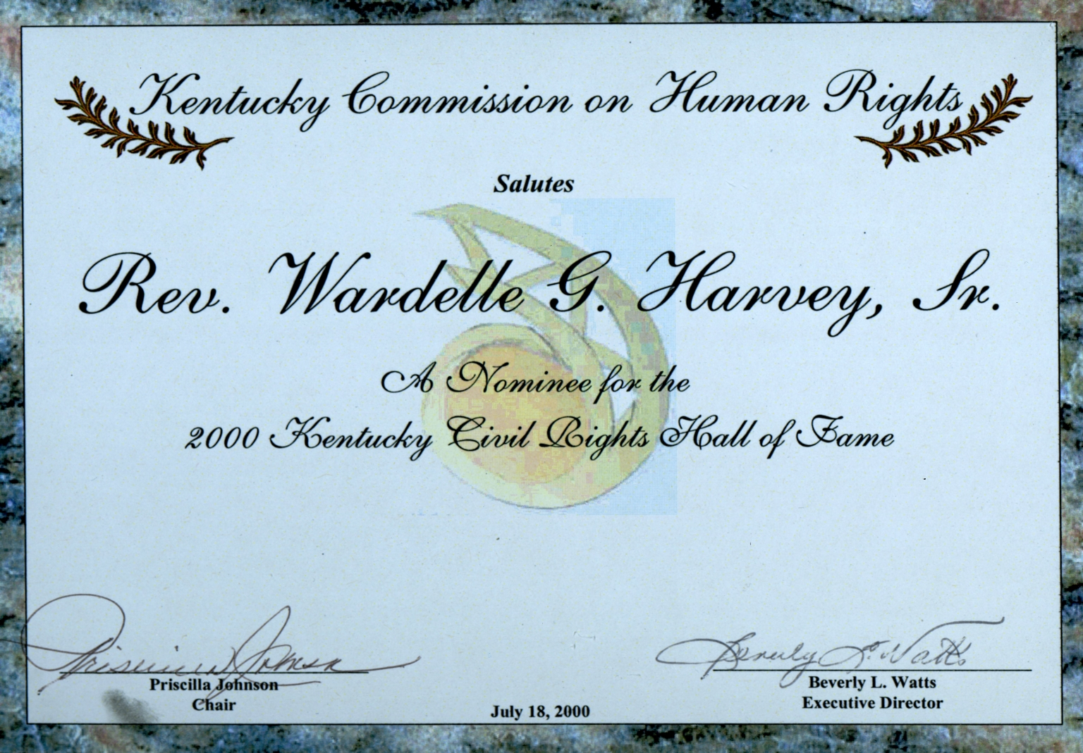 W.G.Harvey KY Civil Rights Hall of Fame Nomination