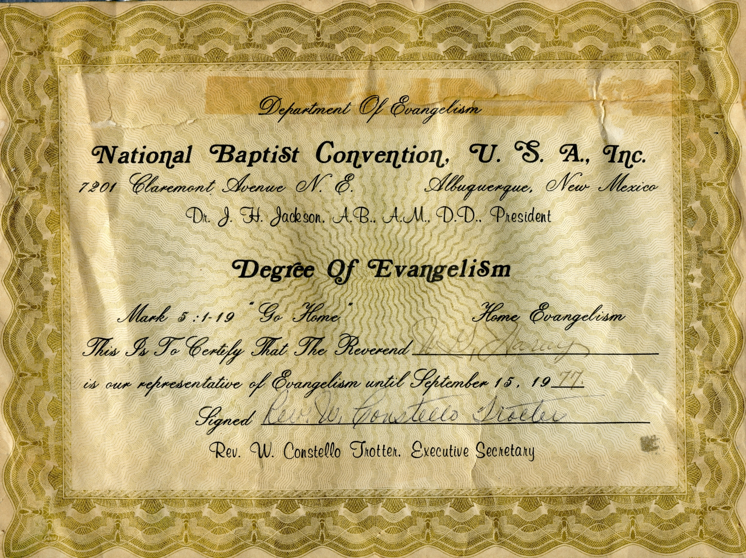Certificate to Rev. W.G. Harvey from National Baptist Convention