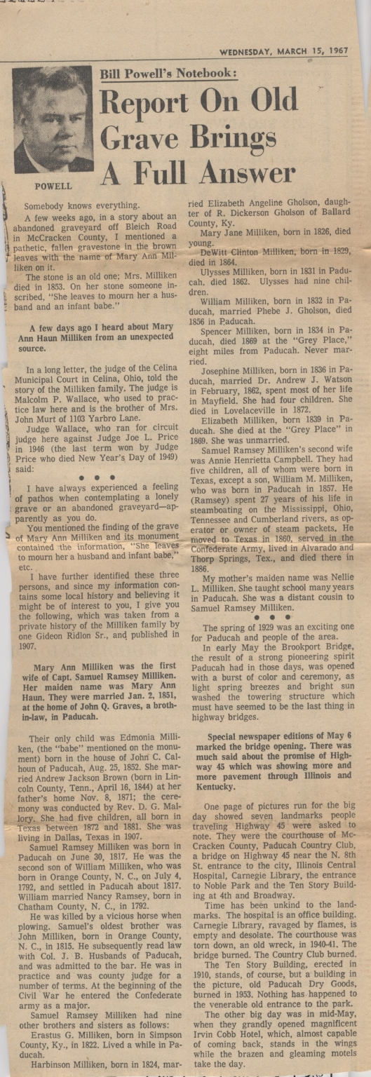 Newspaper article identifies some of those buried in nameless grave yard on Bleich Road in Paducah (KY)