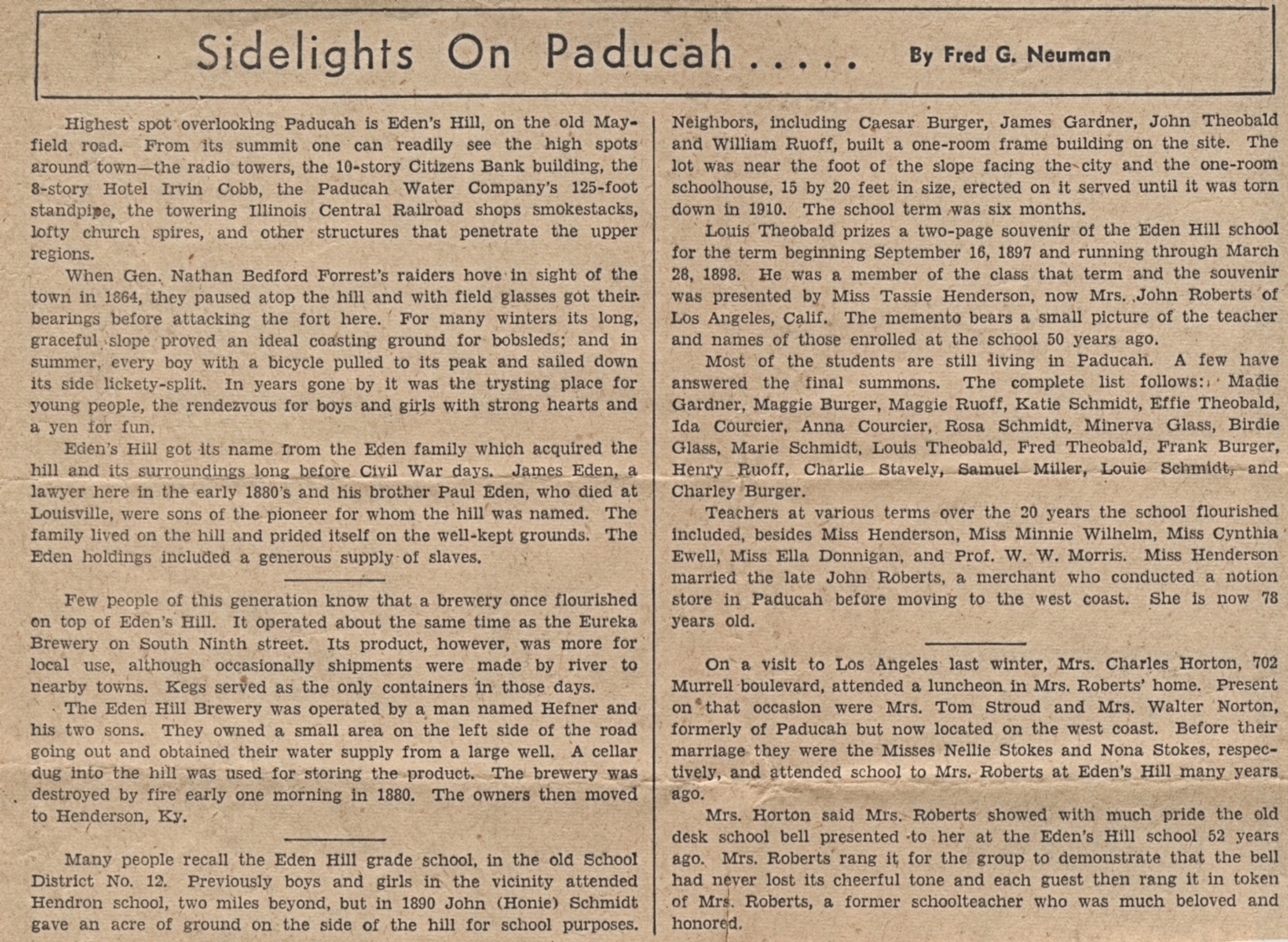Newspaper article giving history of Eden's Hill in Paducah (KY)