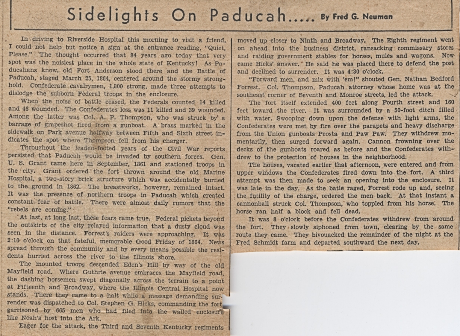Newspaper article on history of the Battle of Paducah