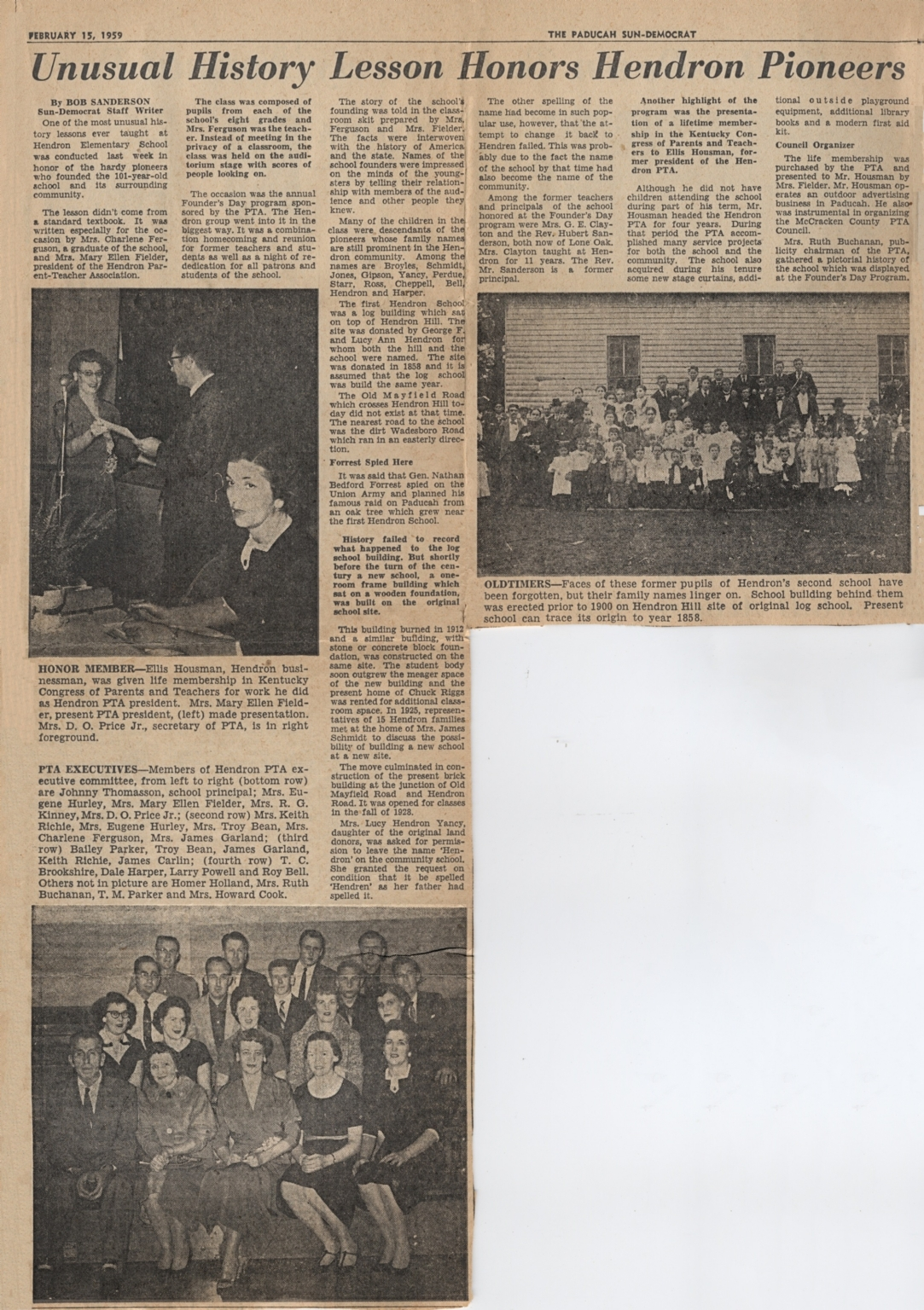 Newspaper article on Hendron School