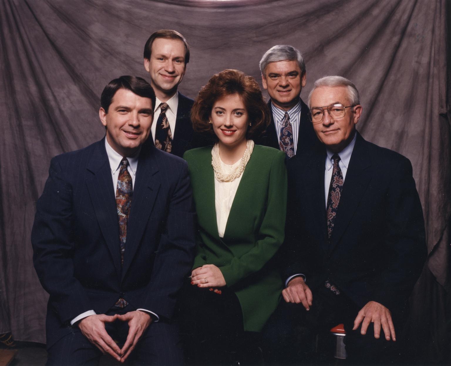 Reporter/anchor Ron Beaton, reporter/anchor Kim Keelor, news vice-president/anchor Tom Butler, meteorologist Cal Sisto, sports director/anchor Larry McIntosh