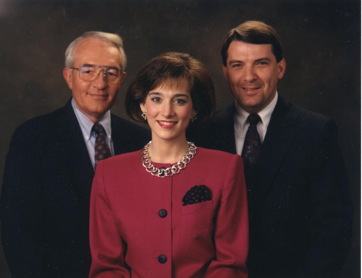 News director Tom Butler, reporter/anchor Bonnie Schrock and reporter/anchor Ron Beaton