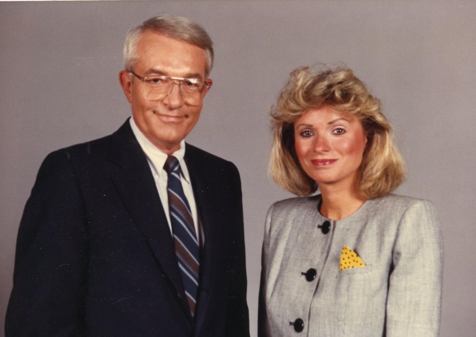 News director Tom Butler and news anchor Vicki Dortch