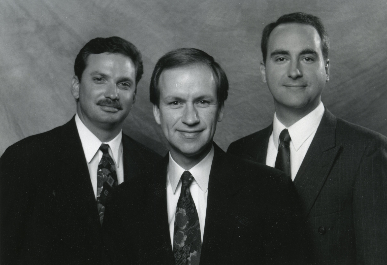 Weatherman Lew Jetton, meteorologist Cal Sisto and Ron Rhodes