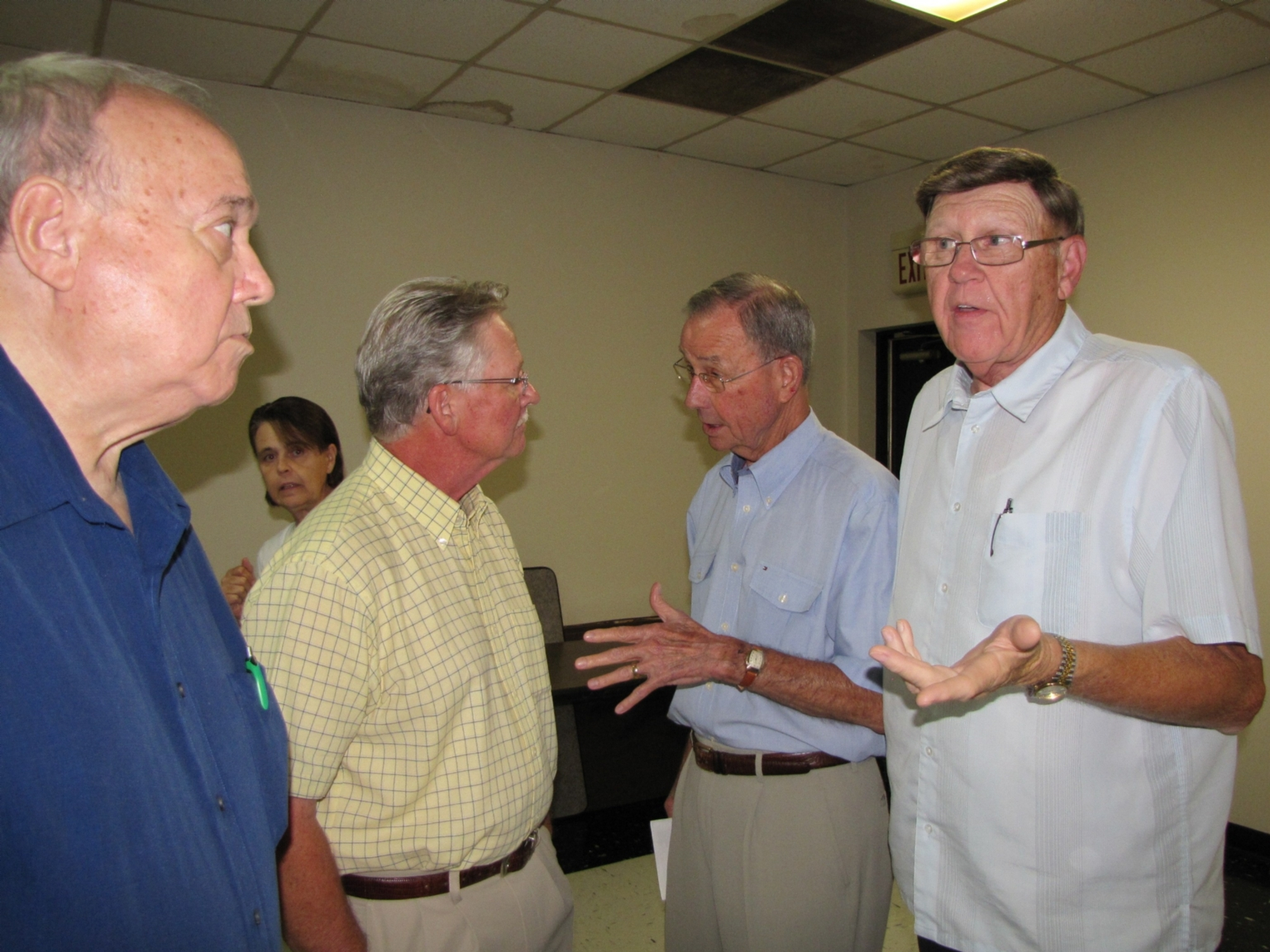 """Leo Green, Gary McMillin, Don Van Cleve and Charlie Katterjohn at """"old employees' luncheon"""""""